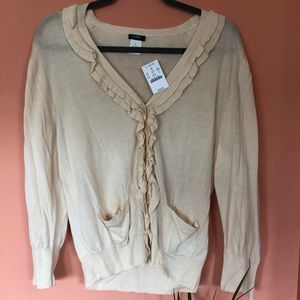 Jcrew cardigan with ruffles. NWT.